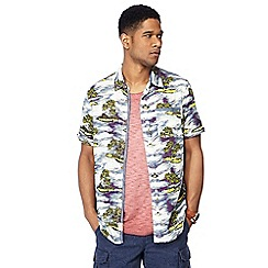 Mantaray - Navy island print short sleeve regular fit shirt