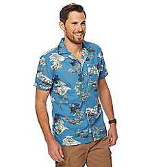 Mantaray - Big and tall blue holiday scene print shirt