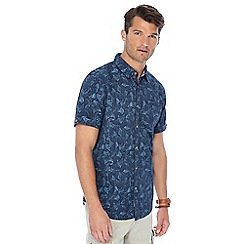 Mantaray - Navy camo print short sleeve shirt