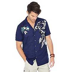 Mantaray - Navy floral print short sleeve shirt