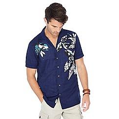 Mantaray - Big and tall navy floral print short sleeve shirt