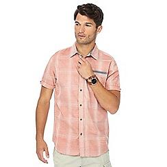 Mantaray - Orange check print short sleeve shirt