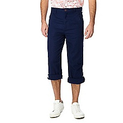 Mantaray - Big and tall navy linen blend regular fit trousers