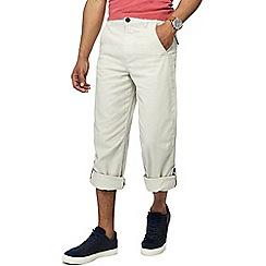Mantaray - Big and tall cream linen blend regular fit trousers