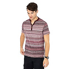 Mantaray - Wine stripe print cotton t-shirt