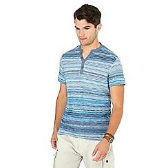 Mantaray - Big and tall blue stripe print cotton t-shirt