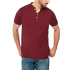Mantaray - Big and tall wine red y-neck top