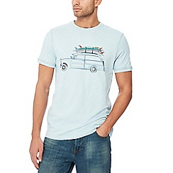 Mantaray - Pale blue surf car print cotton t-shirt
