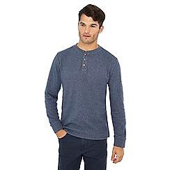 Mantaray - Blue textured grandad collar top