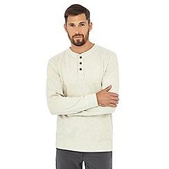 Mantaray - Off-white textured granddad collar top