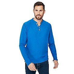 Mantaray - Big and tall bright blue y-neck top