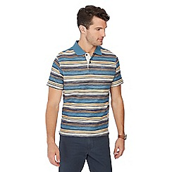 Mantaray - Blue loopback stripe cotton polo shirt