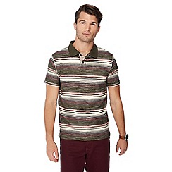 Mantaray - Dark green loopback stripe cotton polo shirt