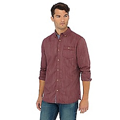 Mantaray - Dark red herringbone long sleeve shirt