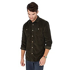 Mantaray - Big and tall dark green corduroy long sleeve regular fit shirt