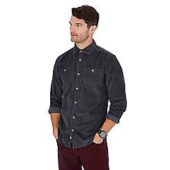 Mantaray - Grey corduroy long sleeve regular fit shirt
