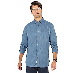 Mantaray - Big and tall blue herringbone long sleeve shirt