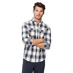 Mantaray - Blue check print long sleeve regular fit shirt