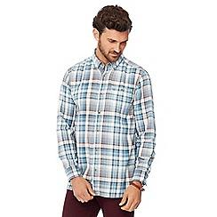 Mantaray - Big and tall blue checked long sleeve regular fit shirt