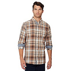 Mantaray - Big and tall brown check print long sleeve shirt
