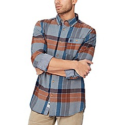 Mantaray - Big and tall blue checked long sleeve regular fit shirt