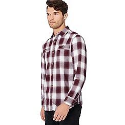 Mantaray - Wine red check print long sleeve shirt