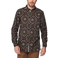 Mantaray - Brown kaleidoscope print long sleeve regular fit shirt