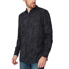 Mantaray - Grey leaf print long sleeve regular fit shirt