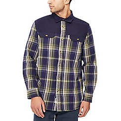 Mantaray - Navy canvas check print long sleeve shirt
