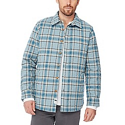 Mantaray - Light blue checked quilted shirt jacket