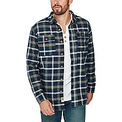 Mantaray - Navy check print borg lined long sleeves shirt