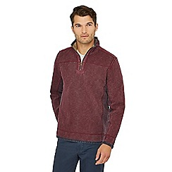 Mantaray - Big and tall dark red zip neck sweatshirt