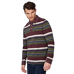 Mantaray - Wine red striped cotton rugby top