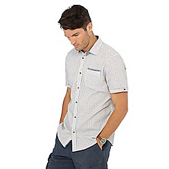 Mantaray - Dark red striped short sleeve shirt