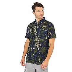 Mantaray - Navy floral print short sleeve regular fit shirt
