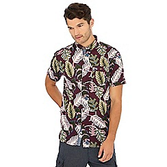 Mantaray - Wine red abstract leaf print short sleeve regular fit shirt