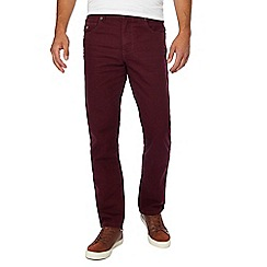 Mantaray - Big and tall maroon straight fit trousers