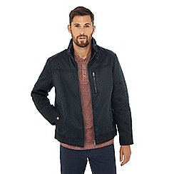 Mantaray - Big and tall navy waxed biker jacket