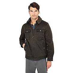 Mantaray - Brown waxed borg collar jacket