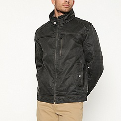 Mantaray - Big and tall dark grey waxed biker jacket