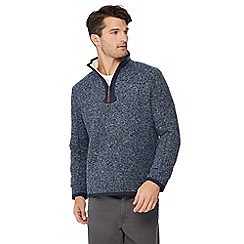 Mantaray - Big and tall blue honeycomb knit zip neck sweatshirt