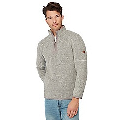 Mantaray - Natural honeycomb knit zip neck sweatshirt