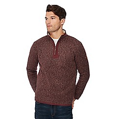 Mantaray - Wine red honeycomb knit zip neck sweatshirt