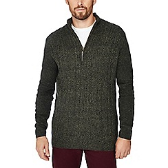 Mantaray - Green cable knit half zip jumper