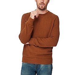 Mantaray - Brown textured knit jumper with wool