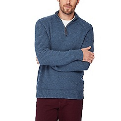 Mantaray - Blue textured knit zip neck jumper