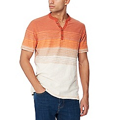 Mantaray - Big and tall orange striped ombre-effect t-shirt