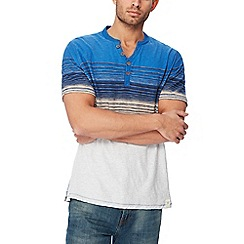 Mantaray - Big and tall blue striped ombre-effect t-shirt