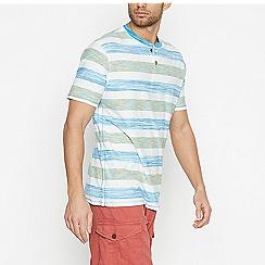 Mantaray - Blue Space Dye Stripe Cotton T-Shirt