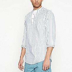 Mantaray - Green Striped Long Sleeve Kaftan Shirt